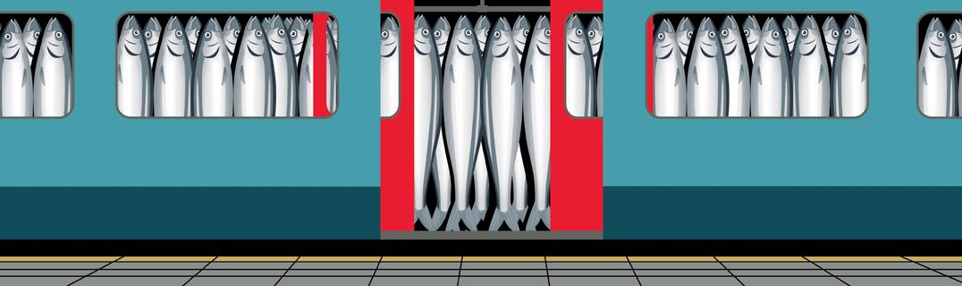 在擁擠列車上擠成沙丁魚的通勤族